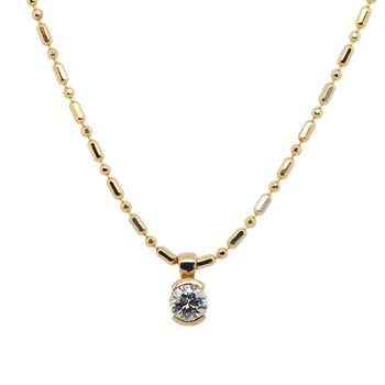 Partial Bezel Set Diamond (0.21ct) Necklace with 18K Gold Bead Chain
