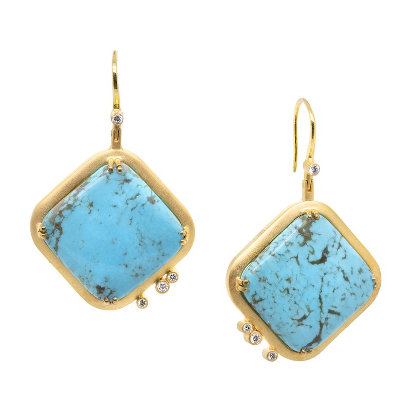 Extended Collection Turquoise and Diamond Gold Square Earrings