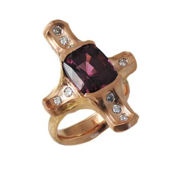 Rhodolite Garnet (6.43ct) Ring with Cardinal Point Diamond Accents in 18K Rose Gold