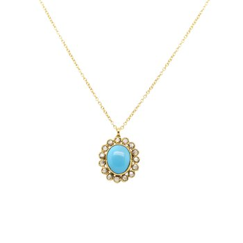 Turquoise and Champagne Diamond Necklace