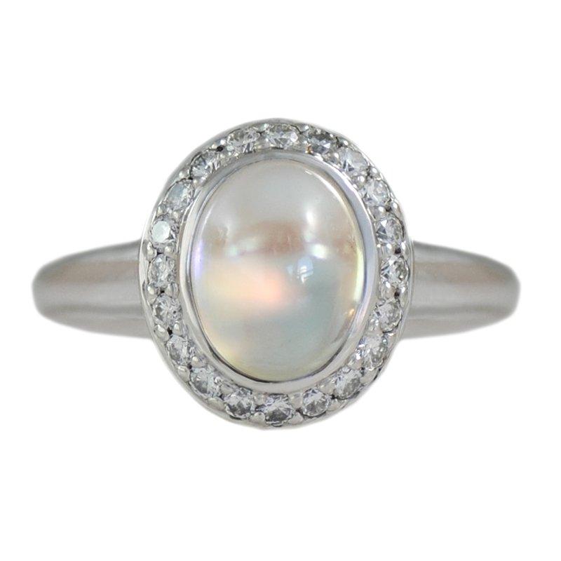 Pavé Fine Jewelry Moonstone (2.83ct) Ring with Diamond Halo in Platinum