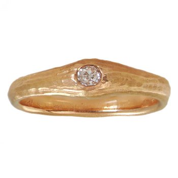 Rose Gold and Flush-Set Diamond (0.10ct) Solitaire Ring