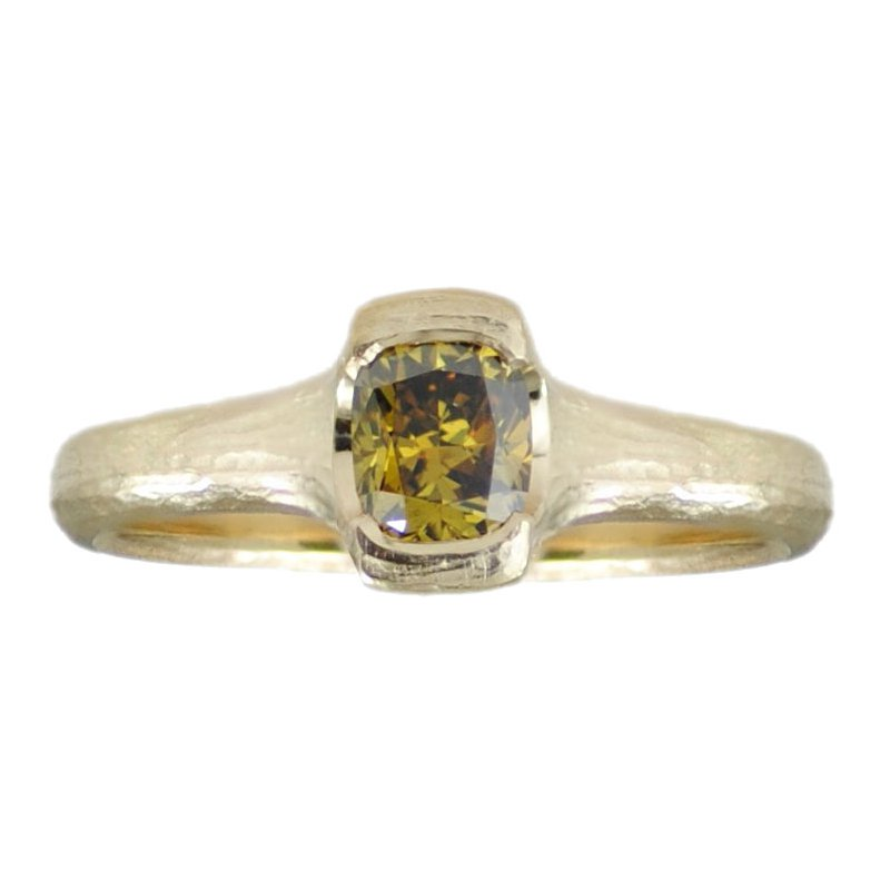Michael Endlich Designs Yellow Green Diamond (0.45ct) Ring in 18K Yellow Gold