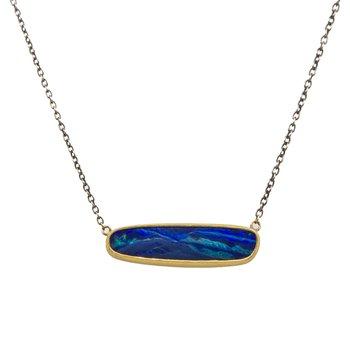 Opal Oxidized Silver Necklace