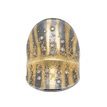 Oxidized Silver and Gold Striped Diamond Ring