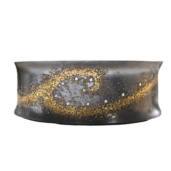Oxidized Silver and Gold Dust Wave Cuff