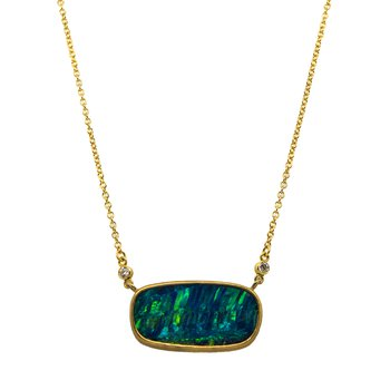 Opal (8.92ct) Necklace with Diamond Accents in Gold