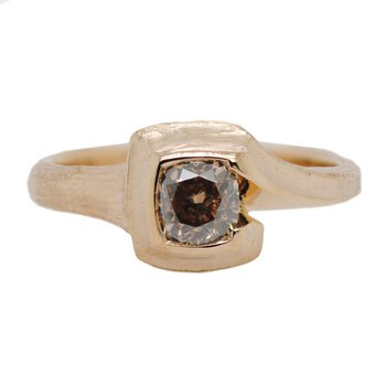 Light Brown Diamond (0.76ct) Partial Bezel Ring in 18K Gold