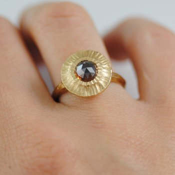 """Sun"" Ring with a Cognac Diamond (1.30ct) and Wide Scalloped Bezel in 18K Gold"