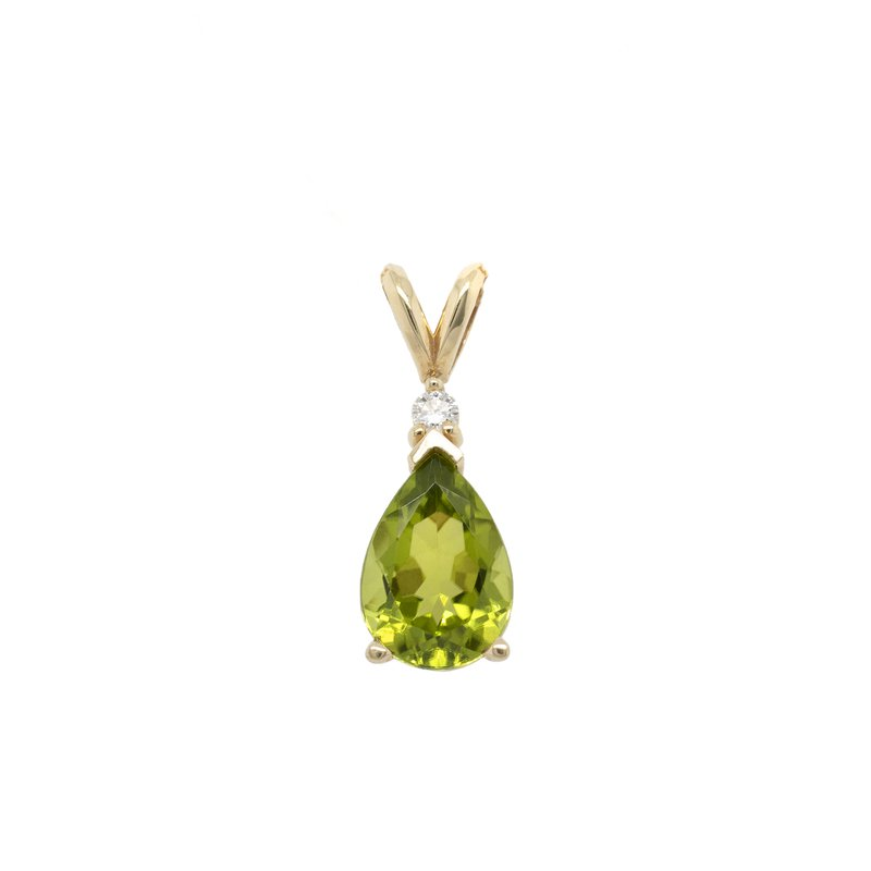Extended Collection Peridot Pendant with a Diamond in 14K Gold