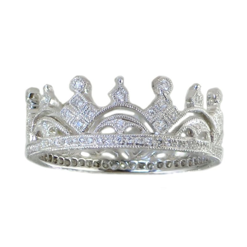 """Extended Collection """"Crown"""" Band in 18K White Gold"""