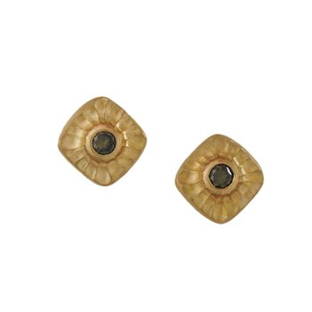 Olive Green Diamond (0.29ctw) Textured Gold Square Studs
