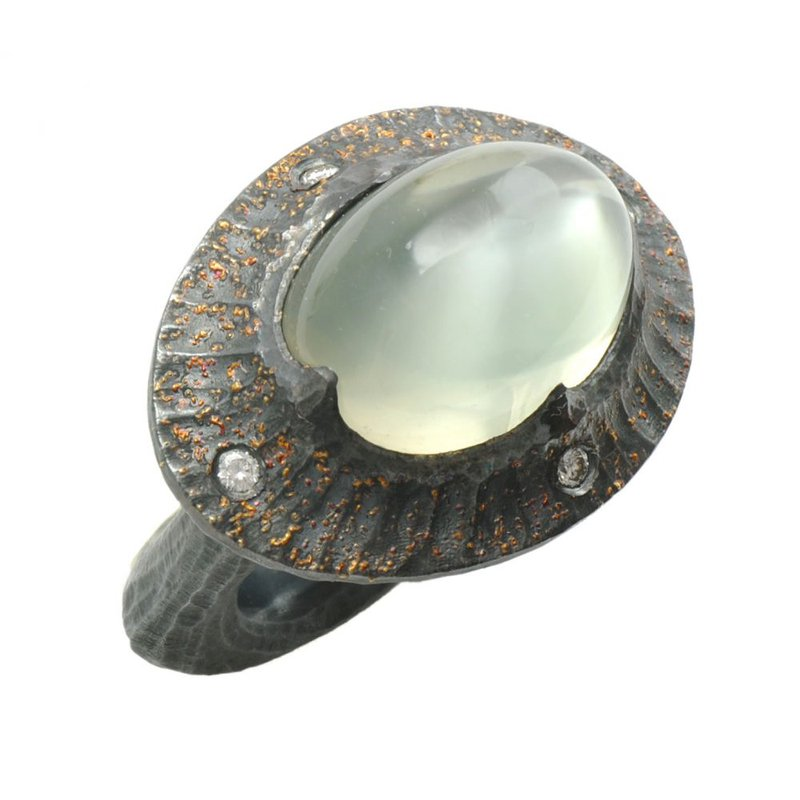 Michael Endlich Designs Moonstone Statement Ring in Oxidized Silver with Gold Dust