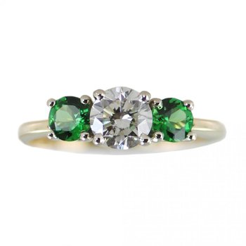 Diamond Ring with Tsavorite Garnet Accents in 14K Yellow Gold