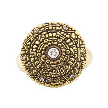 """Shield"" Ring with Diamonds in 18K Gold"