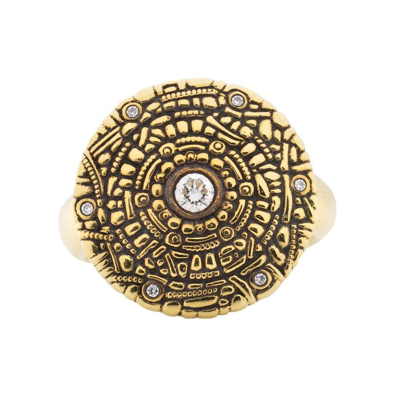 """Alex Šepkus """"Shield"""" Ring with Diamonds in 18K Gold"""