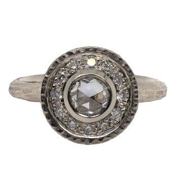 Diamond (0.50ct) Ring with Diamond Halo in Platinum