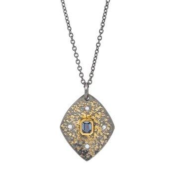 Oxidized Silver Sapphire Pendant