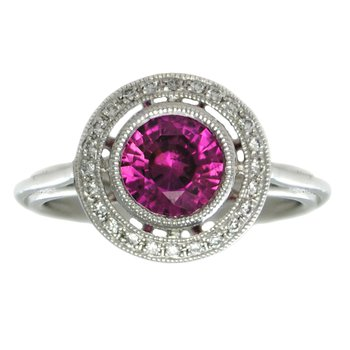 Pink Sapphire (1.57ct) Ring with Diamond Halo in Platinum