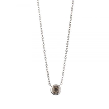 White Gold and Champagne Diamond Necklace