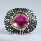 Michael Endlich Designs Watermelon Tourmaline Slice (8.76ct) Ring in 22K Gold and Oxidized Silver