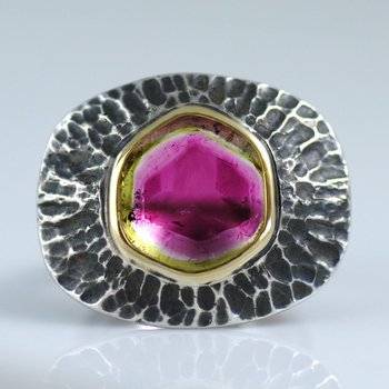 Watermelon Tourmaline Slice (8.76ct) Ring in 22K Gold and Oxidized Silver