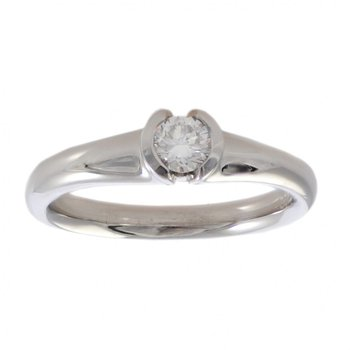 Partial Bezel Set Diamond (0.27ct) Ring in Platinum
