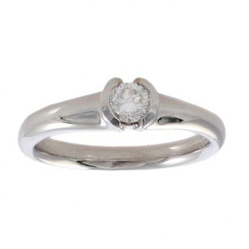 Partial Bezel Set Diamond (0.27ct) Ring in Platinum