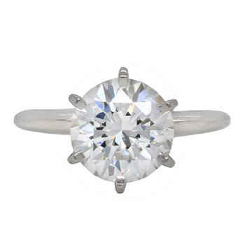 Round Diamond (3.37ct) Solitaire Ring in Platinum