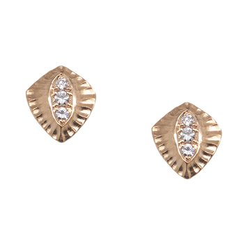 Diamond Studs in a Shield of Rose Gold