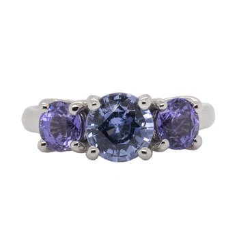 Three Stone Blue and Purple Sapphire Ring in Platinum