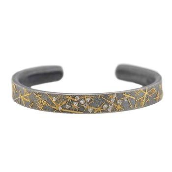 Oxidized Silver and Gold Diamond Cuff Bracelet