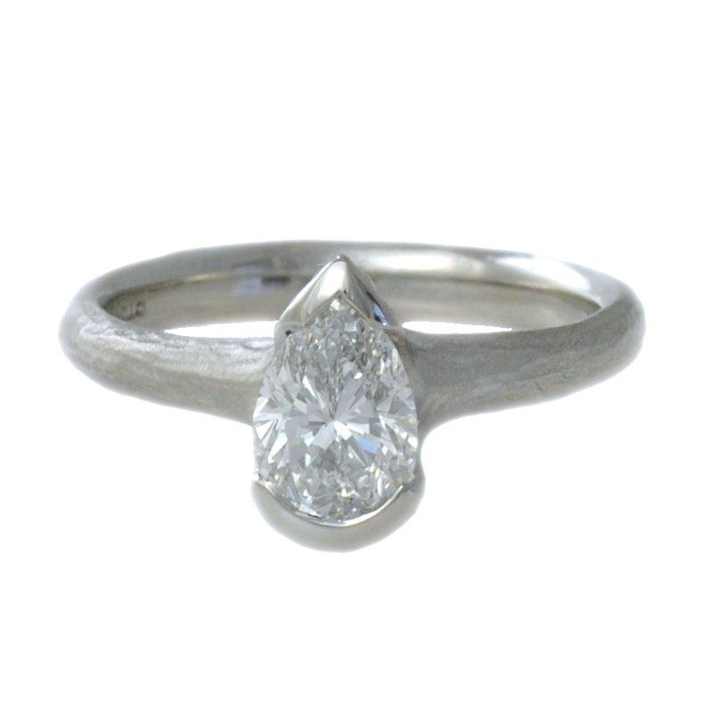 Michael Endlich Designs Partial Bezel Set Pear-Shaped Diamond (1.01ct) Ring in Platinum