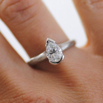 Partial Bezel Set Pear-Shaped Diamond (1.01ct) Ring in Platinum