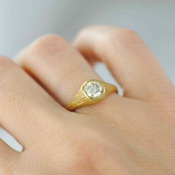 Champagne Diamond (0.71ct) Ring in 22K Gold
