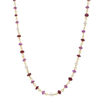 Ruby and Diamond Bead Gold Necklace