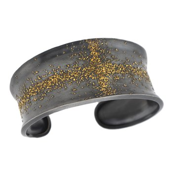 Oxidized Silver and Gold Dust Cross Cuff Bracelet