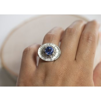 Blue Sapphire & Platinum Statement Ring