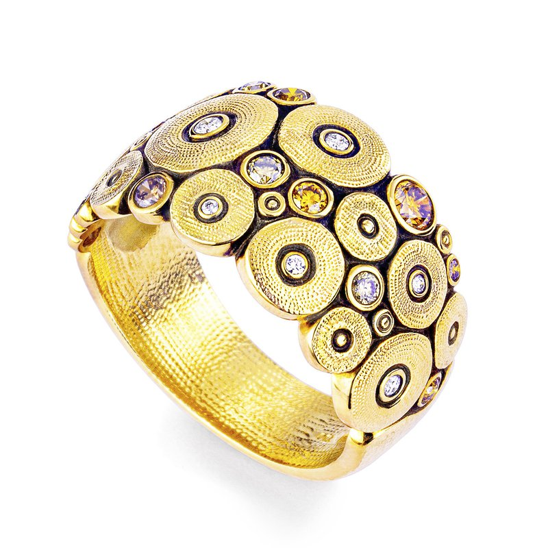 """Alex Šepkus """"Ocean"""" Ring with Natural Colored Diamonds in 18K Gold"""