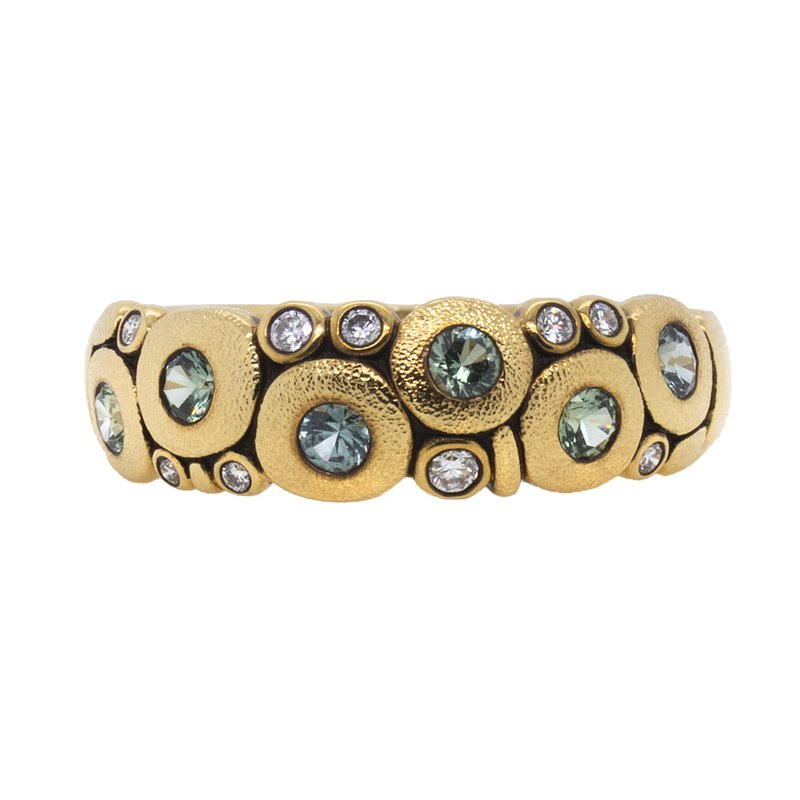 """Alex Šepkus """"Candy"""" Dome Ring with """"Sea Mix"""" Sapphires and Diamonds in 18K Gold"""