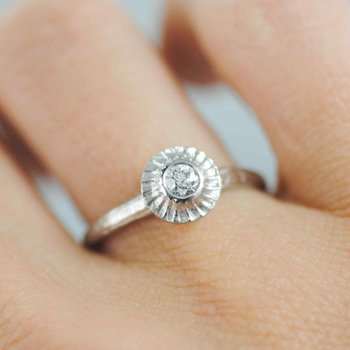 Diamond Ring with Textured Halo in Platinum