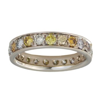 Pink, White, Yellow Diamond Eternity Band in 18K White Gold