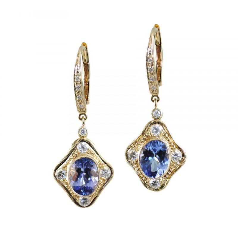 Extended Collection Tanzanite Earrings with Diamond Details