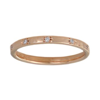 18K Rose Gold Band (2mm) with 10 Diamonds