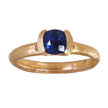 Sapphire (1.22ct) with Diamond Accents Ring in 18K Rose Gold