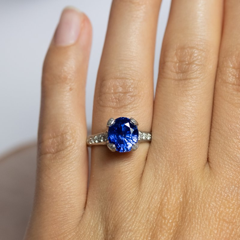 """Michael Endlich Designs """"Big Blue"""" (Blue Sapphire 4.76ct Ring with Diamond Accents in Platinum)"""