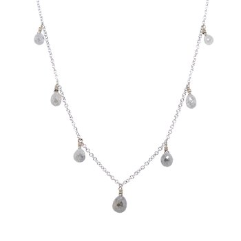 Gray Diamond Briolette Necklace in White Gold