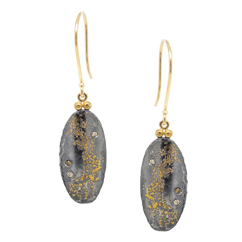 Michael Endlich Designs Oxidized Silver and Gold Dust Earrings with Champagne Diamonds