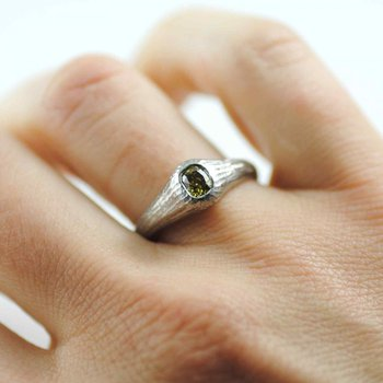 Yellow Cushion Cut Diamond Ring in Platinum