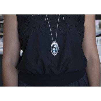 """Aquamarine (58.99ct) Pendant Necklace (30"""") with Diamond Accents in Platinum"""